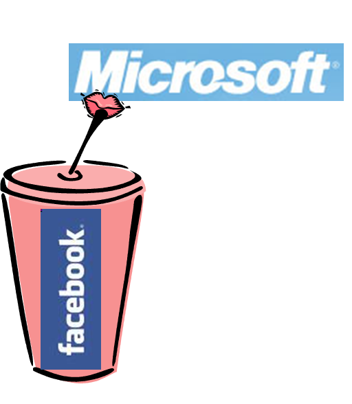 Mircrosoft logo shaped like lips sip off a cup branded by Facebook