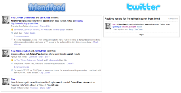 FriendFeed vs Twitter search