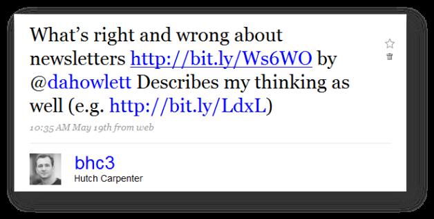 Tweet about newsletter