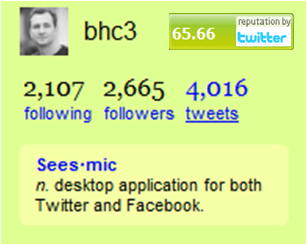 Twitter profile reputation score