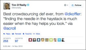 Tim O'Reilly tweet on crowdsourcing